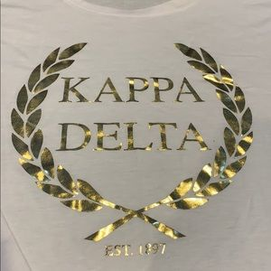 The Social Life Tops - New kappa delta white and gold flare top
